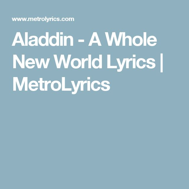 Aladdin - A Whole New World - from