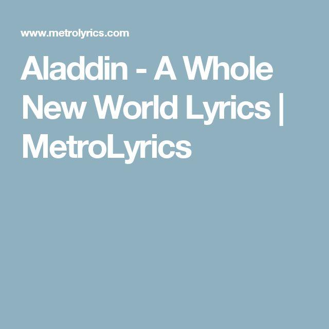 A Whole New World Lyrics - Disney Sheet Music