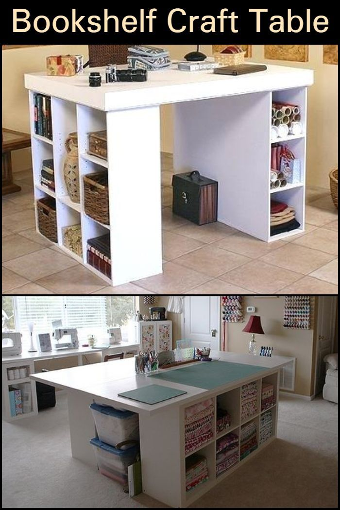 How To Build A Craft Table From Bookshelves Short Bookshelf Bookshelves Craft Table Diy