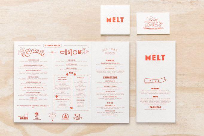 Melt, Australia, menu card and restaurant branding