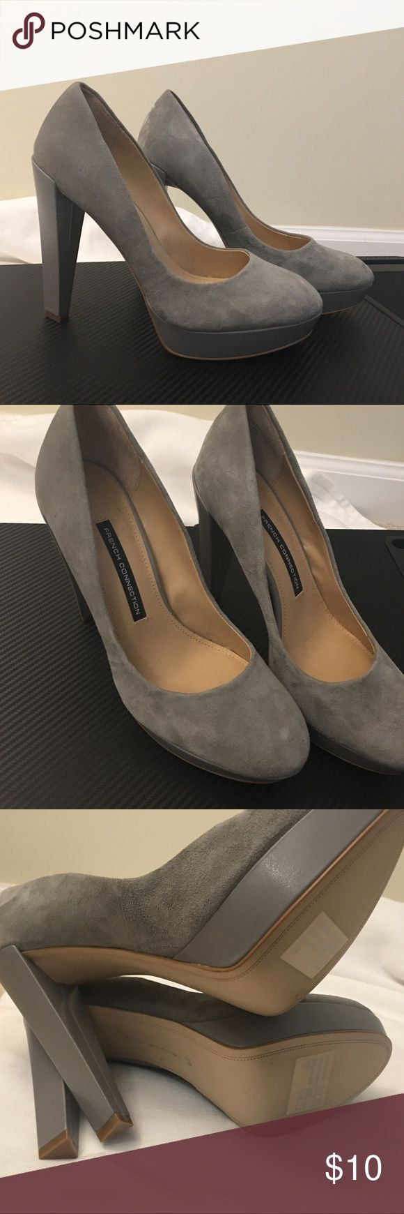 French Connection Grey Heels French Connection Grey Heels Size 9 Heel is scratched French Connection Shoes Heels