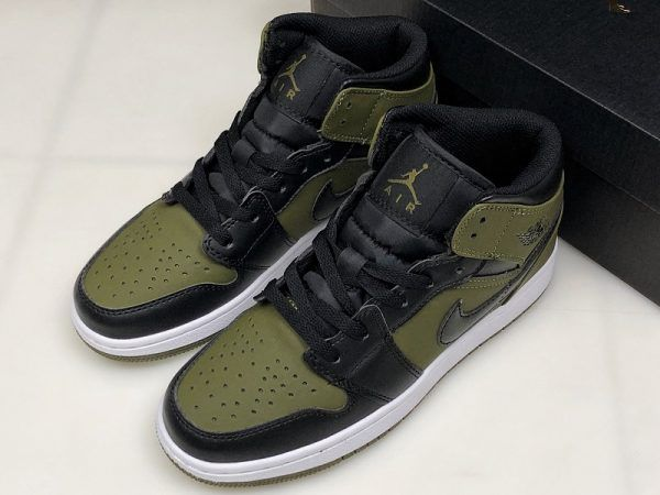 dce0ca3f12b Air Jordan 1 Mid GS Olive Canvas/Black-White Girls Size 554725-301 ...