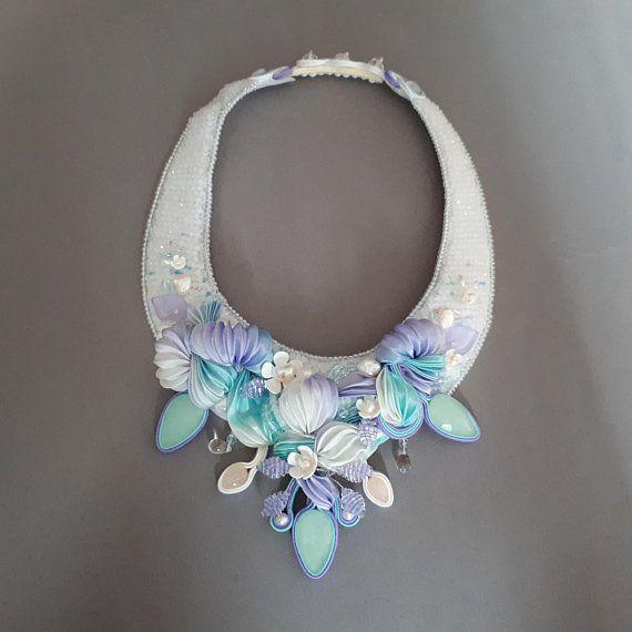 Shibori necklace. Beaded necklace. Unique piece. Soutache &