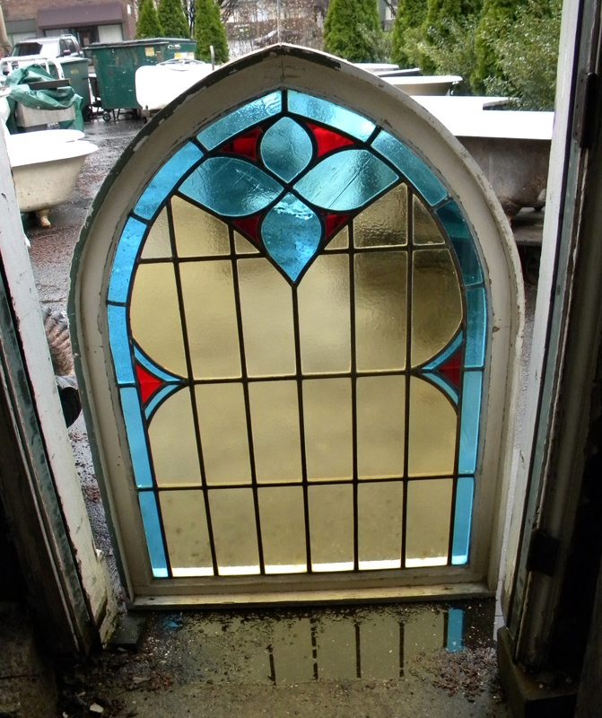 Large Gothic Arch stained glass window, restored- Instead of doing built in architectural arch features, could just put a cool old window somewhere for decoration