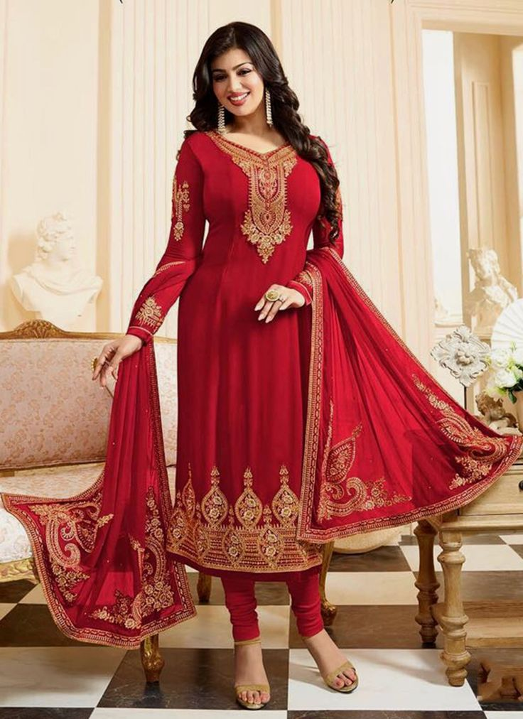 Buy bollywood salwar kameez online from our collection of exclusive indian salwar kameez. Grab this Ayesha Takia faux georgette churidar designer suit.