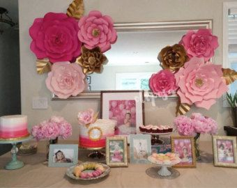 8 pc Giant Paper Flowers Customize your colors by ShopOliposa