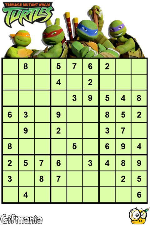Ayuda a las Tortugas Ninja a completar este Sudoku! #TortugasNinja #Sudoku #pasatiempos