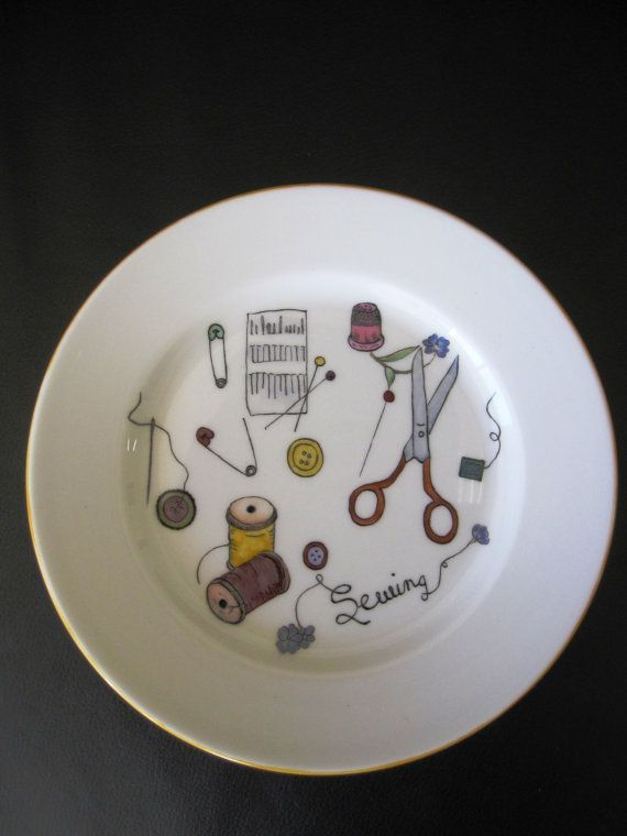 Small Royal Doulton Plate hand painted Sewing by TheChinaHutch, $22.20