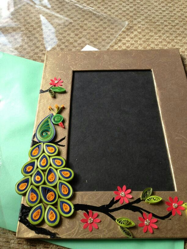 quilling majestic peacock photo frame for 20