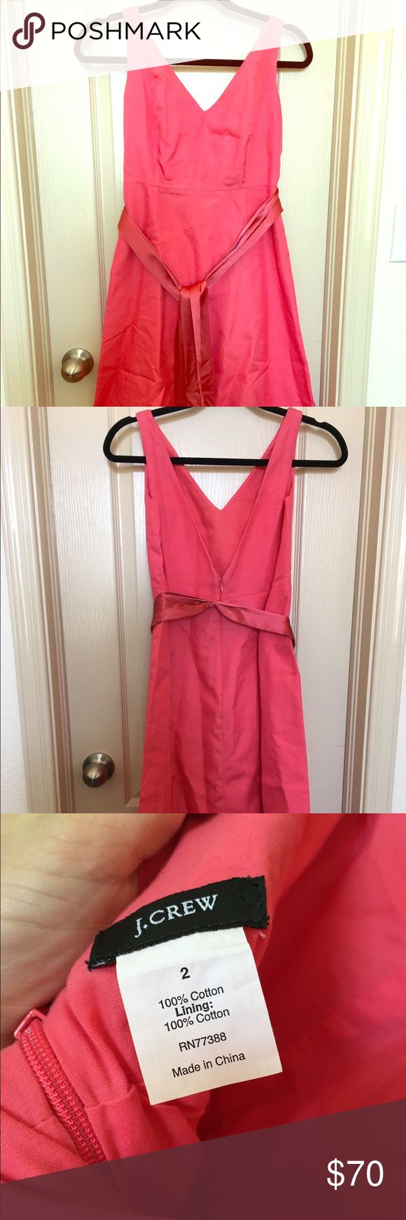 Jcrew coral cocktail dress Never worn JCrew cocktail dress, size 2 in coral with matching sash. J. Crew Dresses Midi