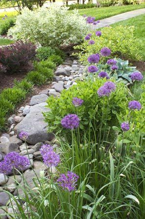Dry stream beds are a practical solution to drainage problems. In winter, this meandering, rock-lined channel handles and directs water flow while preventing erosion. When dry in summer it serves as a handsome garden feature.
