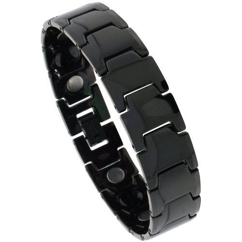 Tungsten Carbide Black Magnetic Therapy Bracelet w/ Bar Links, 5/8 inch wide, 8 inches long Sabrina Silver. $49.95