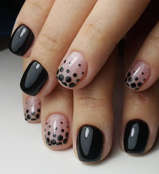 12 Amazing Nail Designs For Short Nails: #7. Pink and Black Patterns