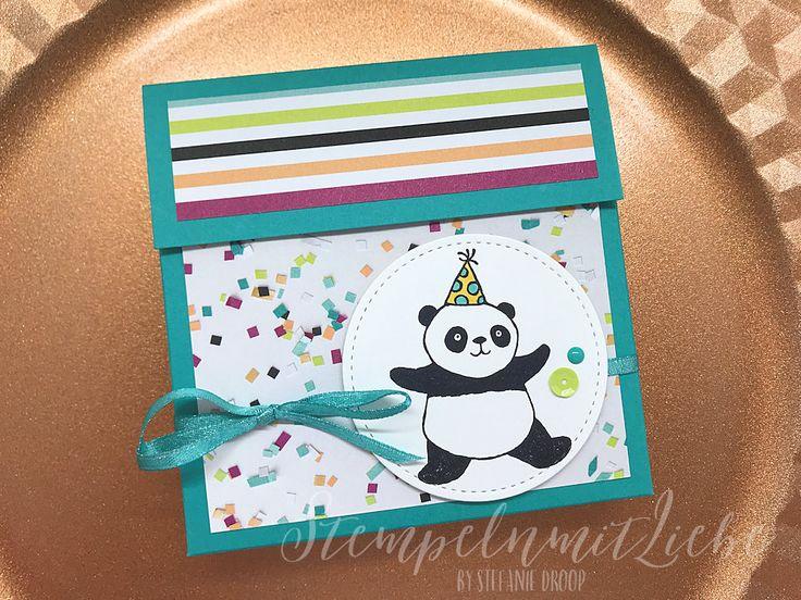 Stampin Up - Bermudablau - Verpackung - Kartenverpackung - Anleitung - Tutorial - mit Maßen - Designerpapier Perfekte Party - Stempelset Party-Pandas♥ StempelnmitLiebe