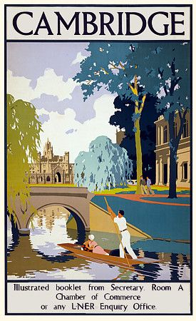 Cambridge England Travel Vintage Posters Print