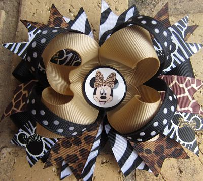 Minnie Mouse Safari Animal Print Zebra Leopard Bouqitue Hair Bow. $9.99, via Etsy.