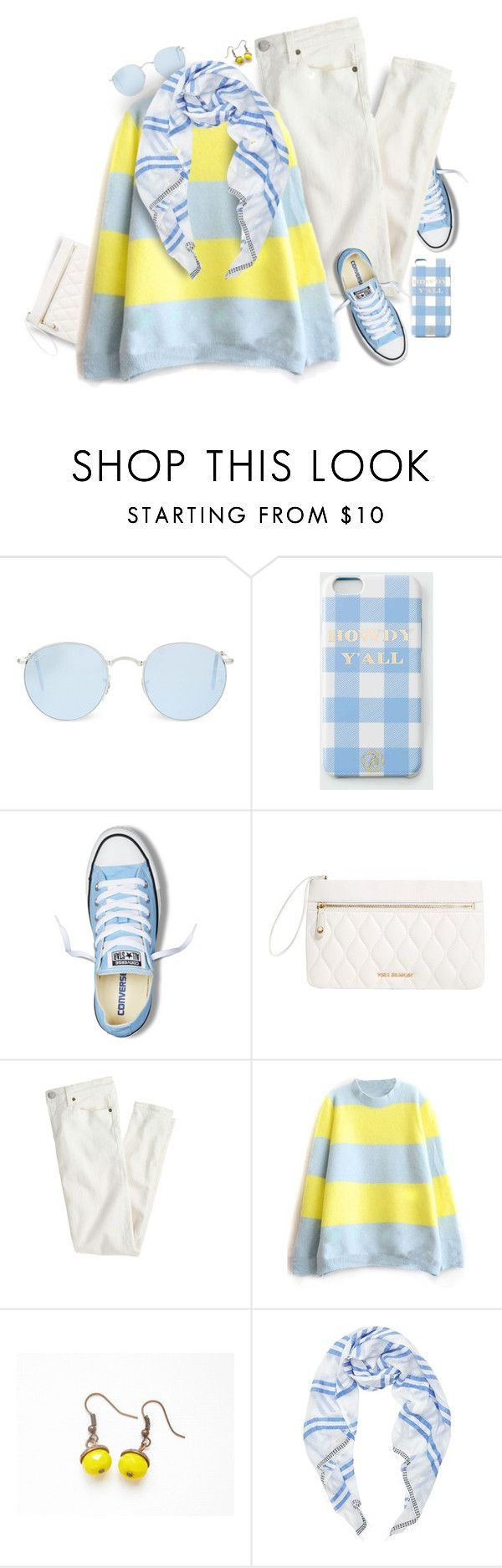 """Lemon + Baby Blue."" by s-elle ❤ liked on Polyvore featuring Ray-Ban, Draper James, Converse, Vera Bradley, J.Crew, Lemlem, women's clothing, women, female and woman"