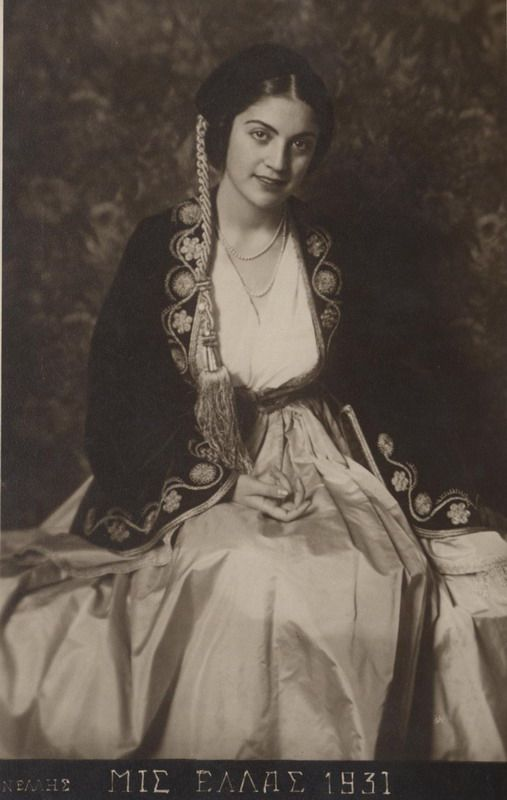 B/W photo of Aliki Diplarakou (Miss Hellas 1930) with Amalia costume. Inscriptions: ΝΕΛΛΗΣ, ΜΙΣ ΕΛΛΑΣ 1930, CARTE POSTALE, Copyright 1930 by ΝΕΛΛΗΣ, ΕΡΜΟΥ 21-ΑΘΗΝΑΙ.