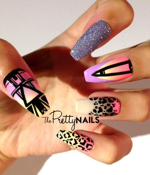Tropical Leopard x Tribal x Ombre x Glitter False Nail Set