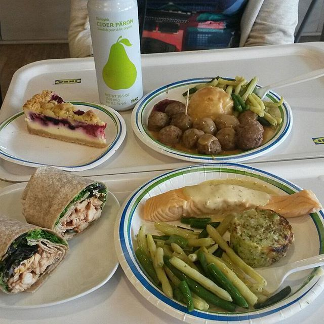We ate the most delicious meatballs at ikea yesterday. I'm still sad that I'm not still eating them. Also that lingonberry cheesecake was so delicious! #ikea #food #gooteats #foodie #cheesecake #meatballs #salmon #wraps #cider #delicious #yummy #lunch #たべます #たべもの #おいしい #でざーと #肉 #wishtherewasmore #hungry