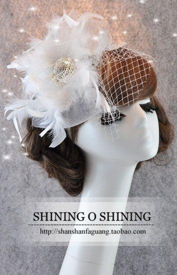 Корейский супер головной убор из перьев головка цветка фату Свадебные аксессуары для волос свадебный поверхность сетки шляпа цветочные - Taobao