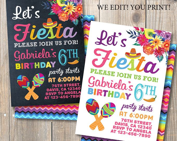 Fiesta Birthday Party Invitation Mexican Party Watercolor