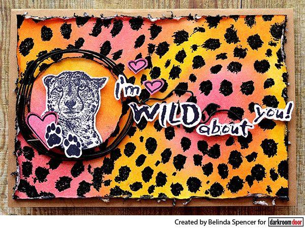 Card by Belinda Spencer using Darkroom Door Cheetah Background Stamp and Distress Inks.
