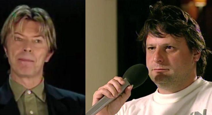 Luc De Vos, de zanger van Gorki die eind 2014 overleden is, sprak in 2002 voor 'Aan Tafel' met zijn idool David Bowie. Bekijk hier het interview.
