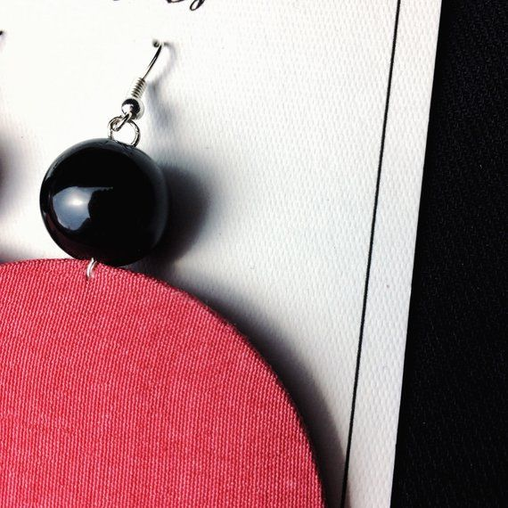 Statement Earrings Chic Earrings Hoop Earrings Circle Fabric Earrings dark orange with a white stripe and a black bead
