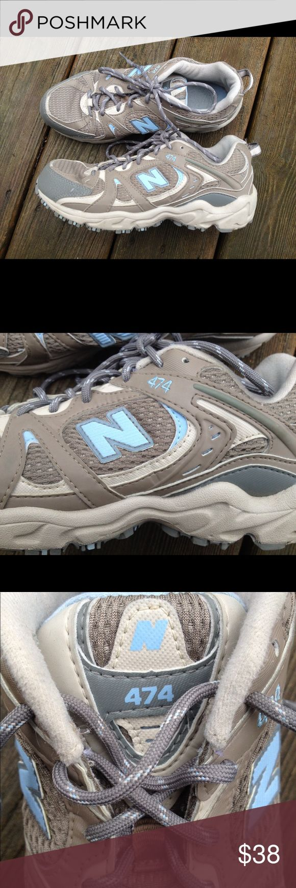 NEW BALANCE All Terrain 474 Women's Sneakers Shoes These are fantastic for nearly any outdoor activity and looks to me like these are almost new!! Gorgeous grey's, Browns and baby blue accents throughout. Reinforcements on heel and tie for ultimate durability, comfort sole and excellent tread. What a find! Women's size 7.5. New Balance Shoes Sneakers