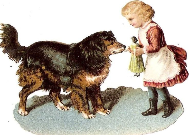 Oblaten Glanzbild scrap die cut chromo Kind child Hund dog chien Puppe poupee