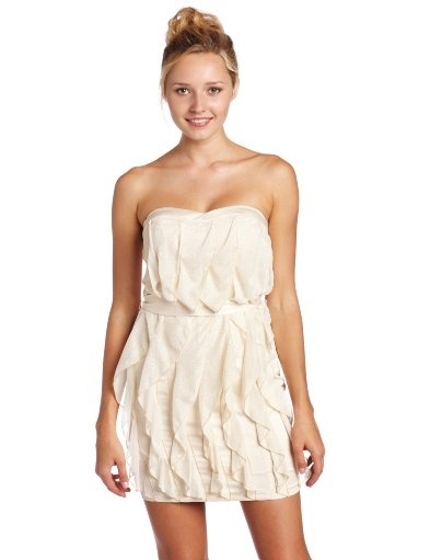 Adorable, I really like this one and the best part is that it's actually quite affordable!Xoxo Junior, Clothing, Strapless Parties Dresses, Dresses 43 75, White Dresses, Strapless Ruffles, Front Dresses, Ruffles Front, Junior Strapless