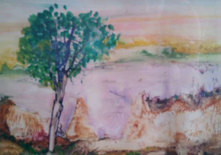 with watercolors 'the lone tree'