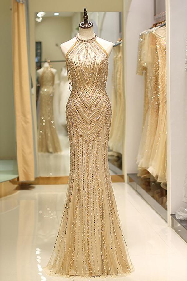 Elegant Mermaid Evening Dresses with Beads