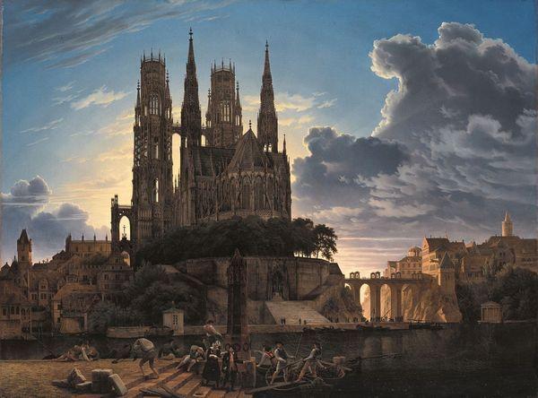 Karl-Friedrich Schinkel - Dom über einer Stadt - 1813