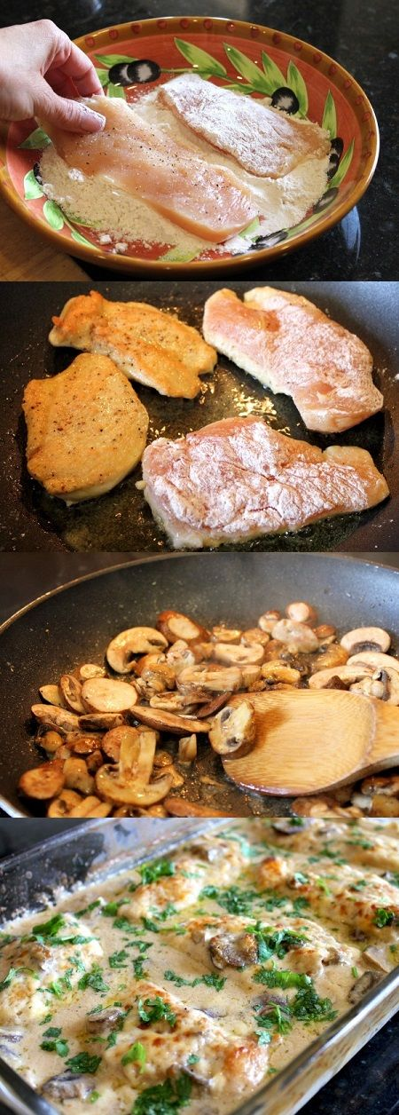 Chicken Gloria: 3 skinless boneless chicken breats, 1/3 c flour, 3 T oil, 2 T butter, 8 oz sliced mushrooms, 1.2 c sherry wine, 1 can condensed cream of mushroom soup, 6 slices Muenster cheese, 3 T chopped parsley, salt, pepper, cook in skillet, place in 9 x 13 covered with foil for 30 min at 350. So delicious..