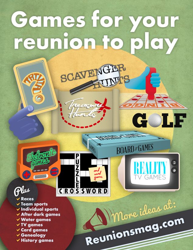 Games for your reunions to play: Trivia, scavenger hunts, bingo, treasure hunts, golf, board games, electronic games, crossword puzzles and word games, reality TV games and much more!