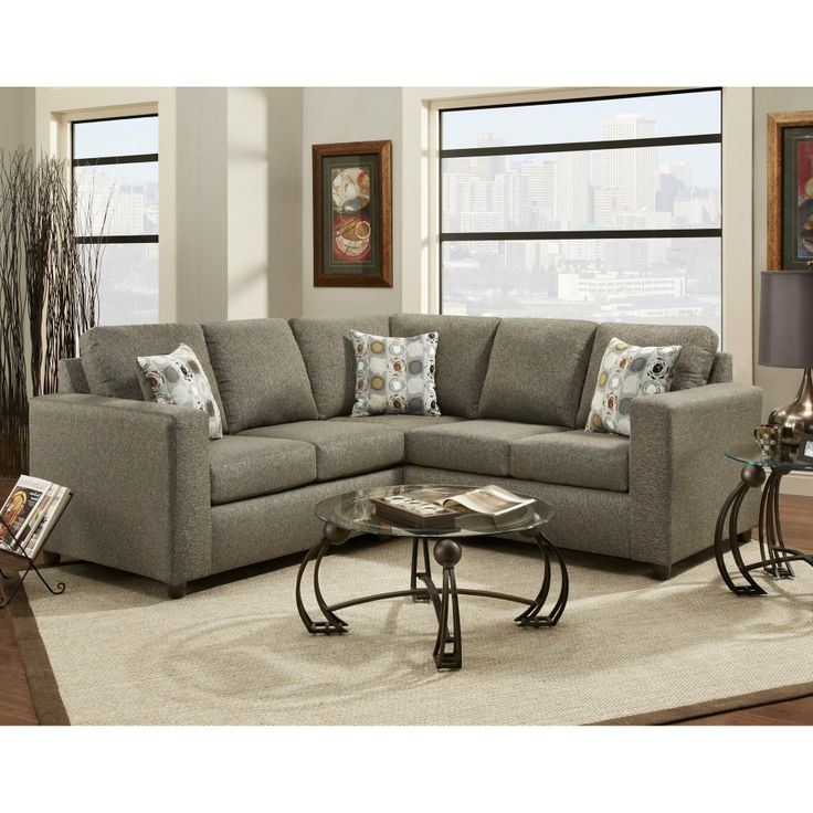 Roundhill Furniture Fabric Sectional Sofa With 3 Pillows Vivid Onyx