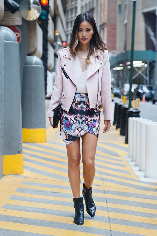 Such a unique Moto but feminine jacket.    Rebecca Minkoff Wes Moto Jacket, Lovers + Friends Skirt, Yosi Samra clutch (no longer available), Sachi Rings and necklace.