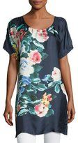 Johnny Was Bayla Long Floral-Print Silk Tunic, Navy, Plus Size