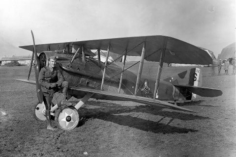 "This day in history (April 29, 1918): Captain Eddie Rickenbacker, the leading US ace of WWI, shot down his first airplane. Fast Eddie's first love was fast cars, and only made the switch from racing to aviation after repairing a car carrying Col Billy Mitchell. Rickenbacker downed 26 enemy aircraft in the European Theatre and was named Commander of the 94th ""Hat in the Ring"" Squadron. He was awarded the Medal of Honor in 1931 by President Herbert Hoover.: Aircraft, 1918, Has, Squadron Insignia, 94Th Aero"