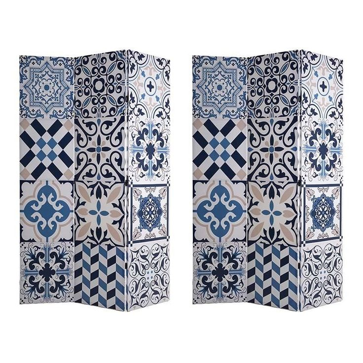 CANVAS PRINTED SCREEN BLUE DESIGN 120X2X180 (DOUBLE SIDE) - Screens - FURNITURE