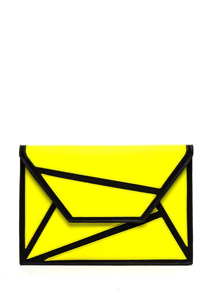 This geometric clutch is the perfect accessory to any little black dress. The neon yellow panels will make your outfit pop.