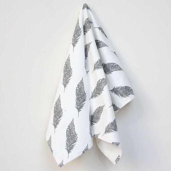 Organic Cotton Kitchen Towel  Grey Feathers by foxyandwinston, $18.00