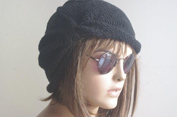 COTTON Black Turban Hat Chemo Hat Hair Loss Hat Head by yagmurhat