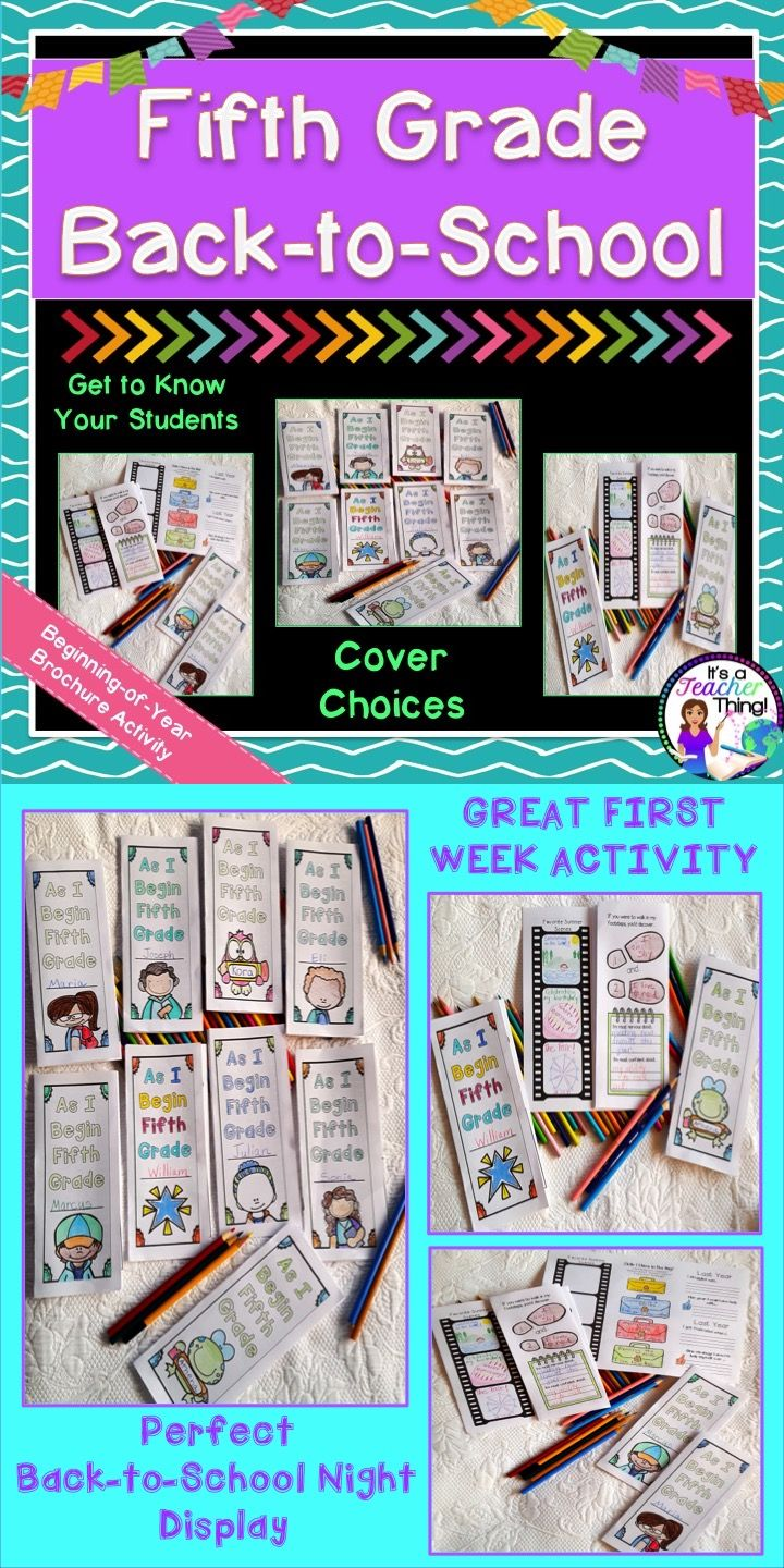 Back to School Brochures for fifth grade will help you get to know your students.  Perfect for the first few days of school and for Back-to-School Night, the brochure is both informative and reflective.  Easy to use and great for your sub tub.