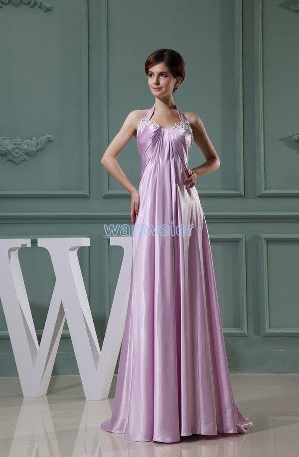 Floor Length Halter Plus Size Sweetheart Satin Purple Wedding Guest Dress With Liquess Zj5223