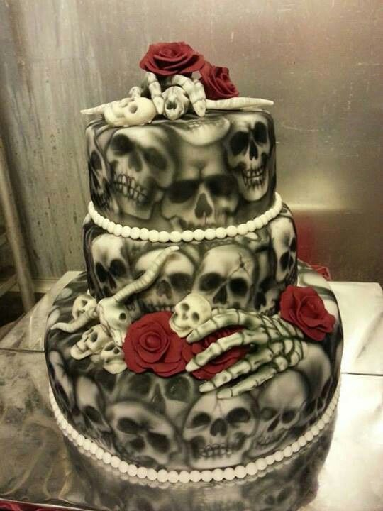 Skull wedding cake for the rebel, rocker or biker bride and groom
