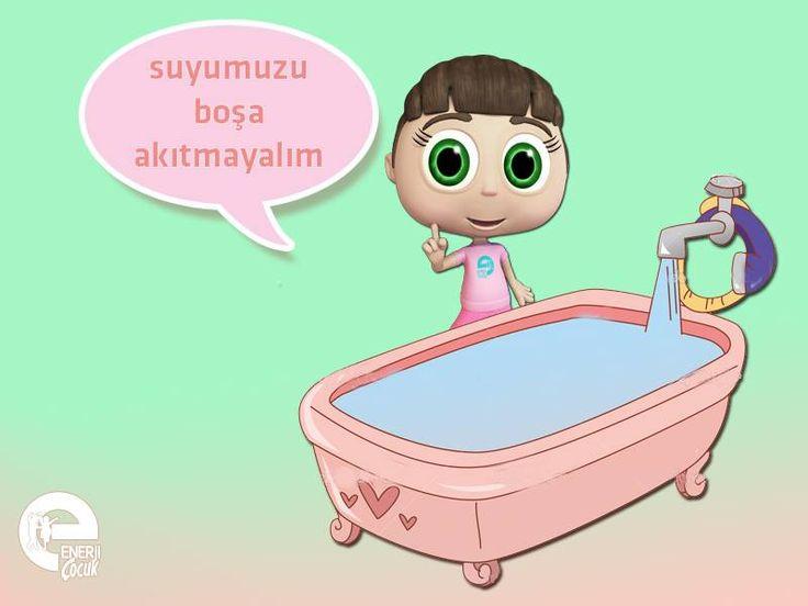 Arkadaşlar, banyo için suyun ısınmasını beklerken çeşmenin altına kova koyarsak sudan tasarruf sağlarız. Sonra da bu suyla annemiz çiçekleri sulayabilir, bunu unutmayın olur mu?  #enerjiçocuk #naz #banyo #su #enerji