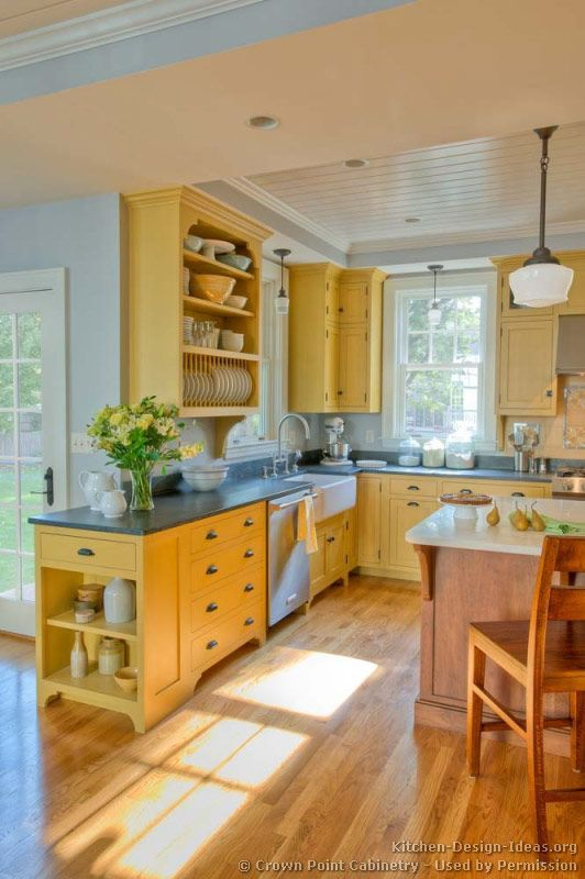 Country Kitchen: love the end of the cabinet, utilizes more space & cute color scheme, yellow :)
